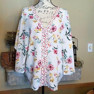 💐Pretty Flowy Floral Tunic Top L